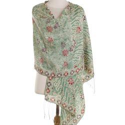 Alluring Lily Batik Silk Shawl in Moss Green Florals