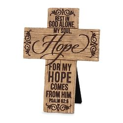 Hope Comes from Him Wood-Look Cross