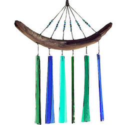 Blue and Green Fused Glass Wind Chime