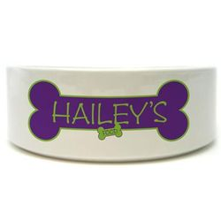 Personalized Colorful Dog Bone Pet Dish