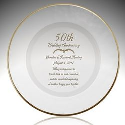 Personalized Glass 50th Anniversary Gold Rim Plate