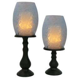 Flameless Candles with Glass Hurricane Lamps Set