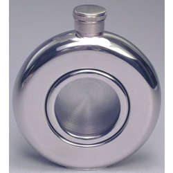 Engraved Stainless Steel Round Whiskey Flask
