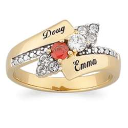 Couple's Cubic Zirconia Birthstone and Names Ring