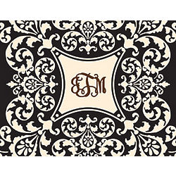 Black and Creme Flourish Personalized Notecards