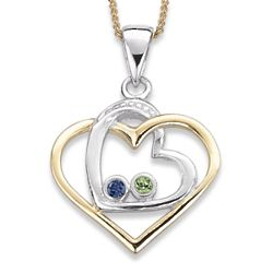 Sterling Silver Sisters Heart Birthstone Necklace