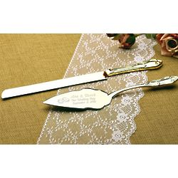 Personalized Wedding Rings Gold Cake Knife and Server Set