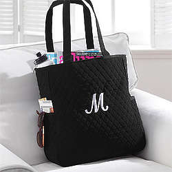 Personalized Black Tote Bag with Initial Monogram