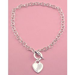 Silver Plated Engraved Heart Tiffany Style Necklace