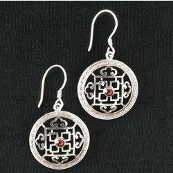 Silver and Garnet Mandala Earrings