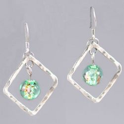 Hammered Silver Diamond Green Lampwork Bead Earrings