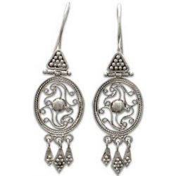 Sterling Silver Temple Treasures Flower Earrings