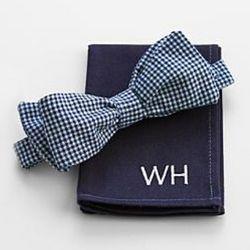 Dean Kamen Bow Tie and 2-3 Letter Monongram Pocket Square