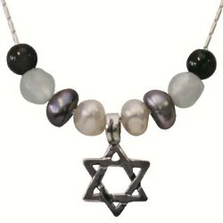 Silver and Pearl Jewish Star Necklace