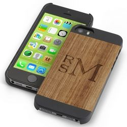 Personalized Wood iPhone 5 Case with Black Trim