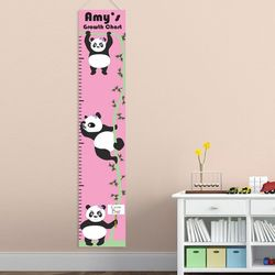 Girl's Hanging Pandas Personalized Height Chart