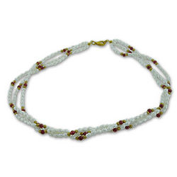 Twisted Freshwater Pearl and Garnet Necklace