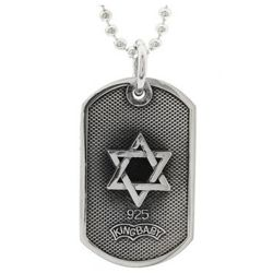 Small Star of David Dog Tag Necklace