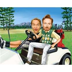 Two Guys in a Golf Cart Caricature Print from Photos