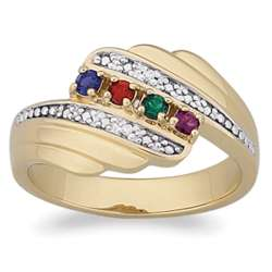 Mother's Birthstone and Diamond Ring