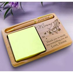 Personalized Outpouring of Love Wooden Notepad & Pen Holder