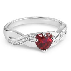 Sterling Created Ruby Heart and Diamond Accent Ring