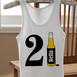 Personalized 21st Birthday Beer Tank Top