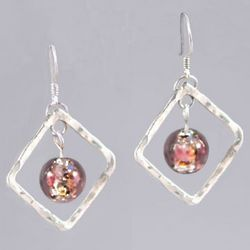 Hammered Silver Diamond Mauve Lampwork Bead Earrings