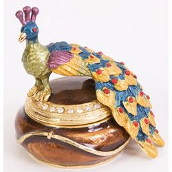Gold Detailed Peacock Trinket Box