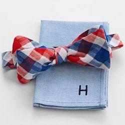 Patriot Bow Tie and Single Letter Monogram Pocket Square