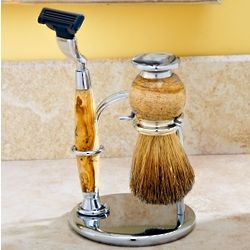 Tan Stone Razor and Badger Brush Shaving Set