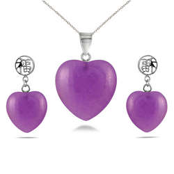 Lavender Jade Heart Pendant and Earring Set