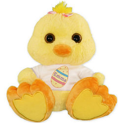 Plush Chick Toy with Personalized Easter Egg Shirt