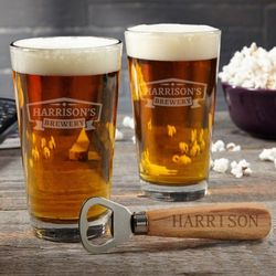Classic Brewery Pint Glass Gift Set