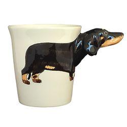 Black Dachshund Handpainted Sculptured Ceramic Mug
