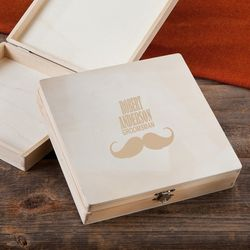 Groomsman's Personalized Wooden Cigar Box with Mustache Design