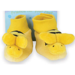 Velour Bumble Bee Baby Booties