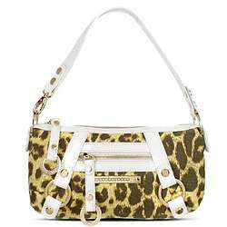 Leopard Print Canvas and Leather Baguette Bag