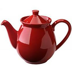 Cherry Red Ceramic Teapot with Lid