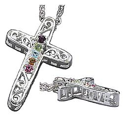 Sterling Silver Filigree Birthstone Cross Pendant
