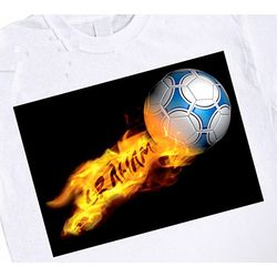 Personalized Flaming Soccer Ball T-Shirt