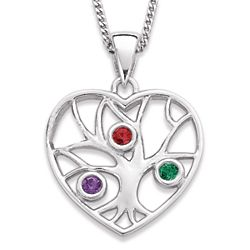 Sterling Silver Family Heart Three Birthstone Necklace
