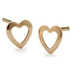 Child's 14 Karat Yellow Gold Heart Stud Earrings