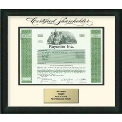 Rayonier Framed Stock Certificate