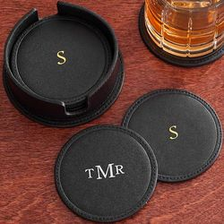 Personalized Black Leather Drink Coasters
