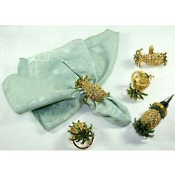 Pineapple Napkin Rings and Wine Stopper