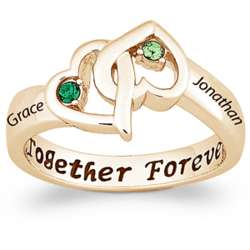 Gold Over Sterling Entwined Hearts Birthstone and Name Ring