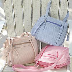 Seersucker Hobo Handbag