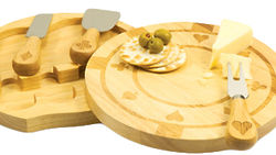Engraved Poker Chip Cutting Board with Cheese Accessories