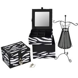Zebra Jewelry Boxes and Dress Jewelry Stand Gift Set